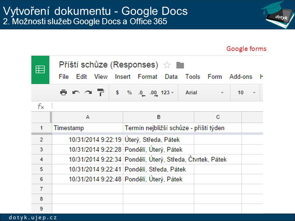 Vytvoření dokumentu - Google Docs 2. Možnosti služeb Google Docs a Office 365 Google forms