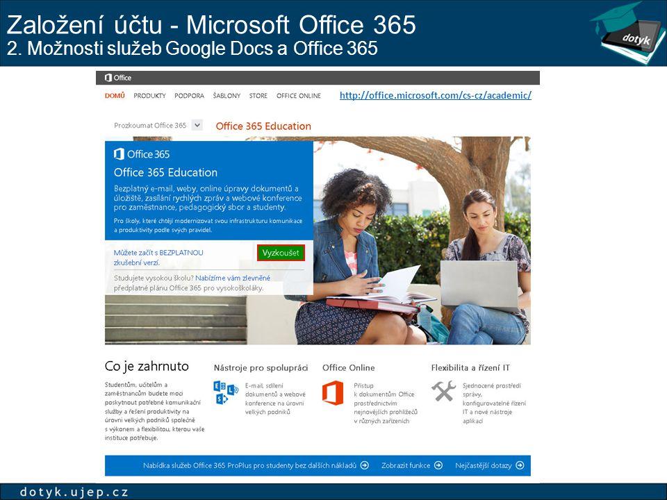 Založení účtu - Microsoft Office 365 2. Možnosti služeb Google Docs a Office 365 http://office.microsoft.com/cs-cz/academic/