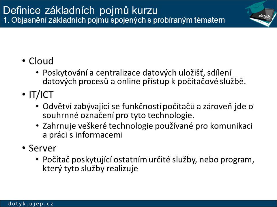 Definice základních pojmů kurzu 1. Objasnění základních pojmů spojených s probíraným tématem Cloud Poskytování a centralizace datových uložišť, sdílen