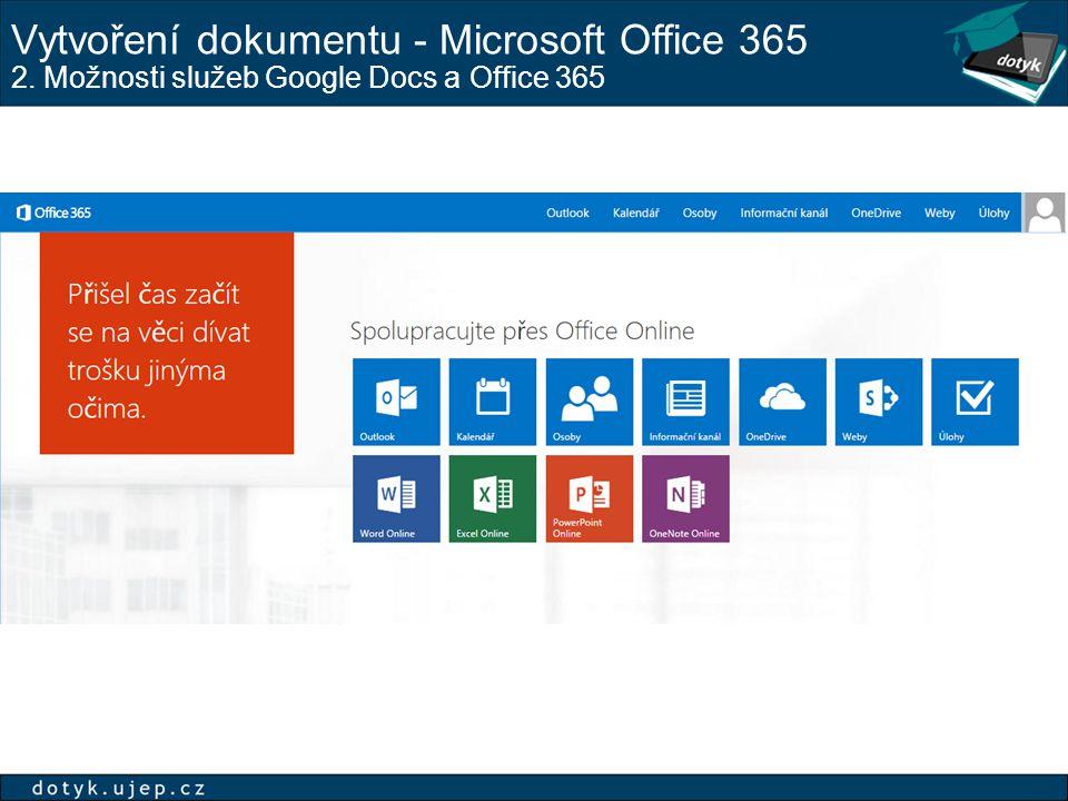 Vytvoření dokumentu - Microsoft Office 365 2. Možnosti služeb Google Docs a Office 365