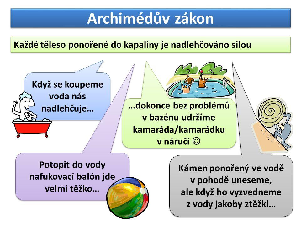 Archimédův zákon Každé těleso ponořené do kapaliny je nadlehčováno silou Když se koupeme voda nás nadlehčuje… …dokonce bez problémů v bazénu udržíme k