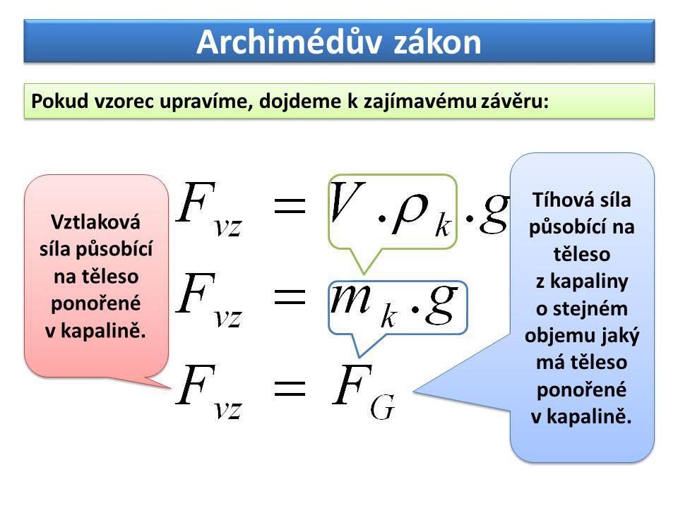Archimédův zákon Pokud vzorec upravíme, dojdeme k zajímavému závěru: Vztlaková síla působící na těleso ponořené v kapalině. Tíhová síla působící na tě