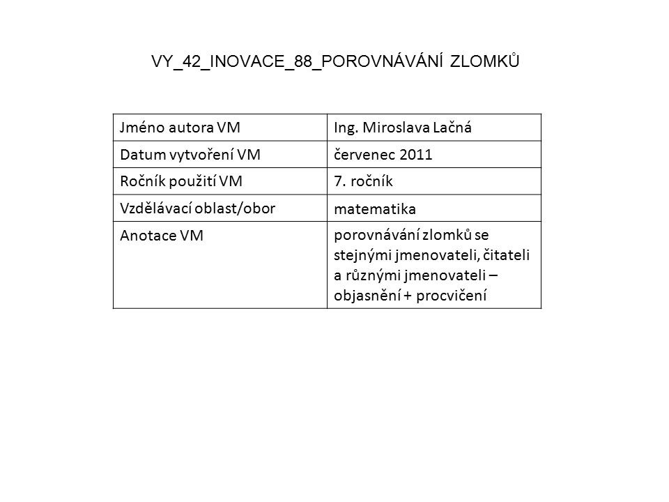 VY_42_INOVACE_88_POROVNÁVÁNÍ ZLOMKŮ Jméno autora VMIng.