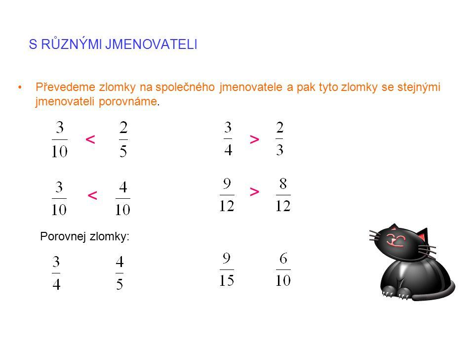 S RŮZNÝMI JMENOVATELI Převedeme zlomky na společného jmenovatele a pak tyto zlomky se stejnými jmenovateli porovnáme.