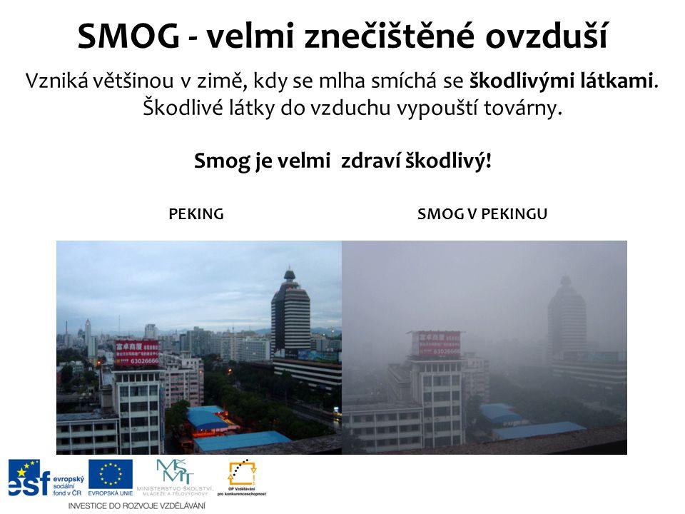 Vzniká většinou v zimě, kdy se mlha smíchá se škodlivými látkami. Škodlivé látky do vzduchu vypouští továrny. Smog je velmi zdraví škodlivý! SMOG - ve