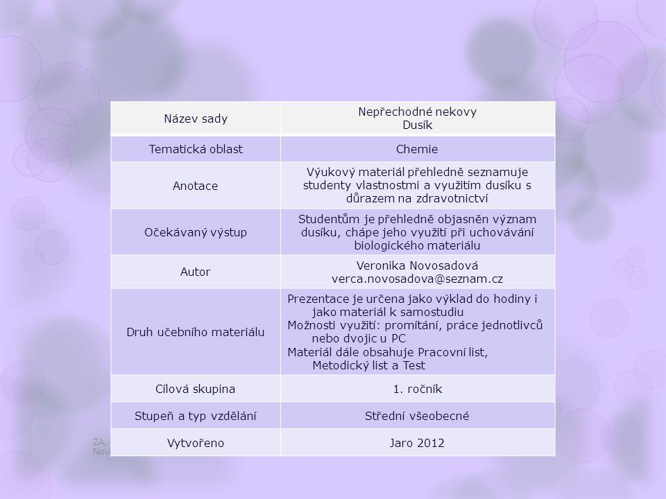 Dusík ZA, 1. ročník / Nepřechodné nekovy, Dusík / Mgr. Veronika Novosadová [1] [2]