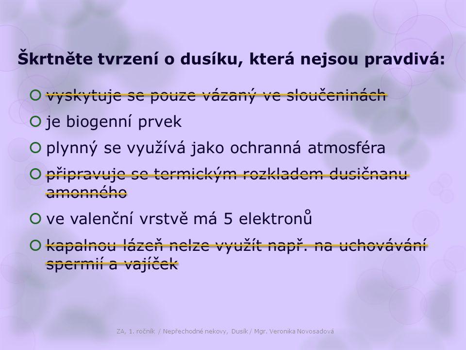 Kapalný dusík ZA, 1.ročník / Nepřechodné nekovy, Dusík / Mgr.