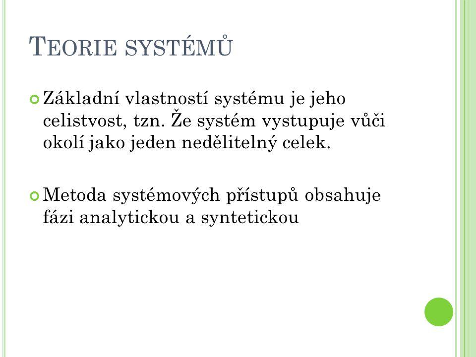 T EORIE SYSTÉMŮ Základní vlastností systému je jeho celistvost, tzn. Že systém vystupuje vůči okolí jako jeden nedělitelný celek. Metoda systémových p