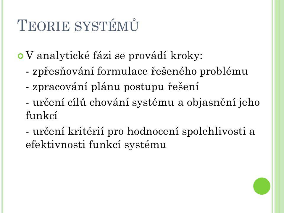 T EORIE SYSTÉMŮ V analytické fázi se provádí kroky: - zpřesňování formulace řešeného problému - zpracování plánu postupu řešení - určení cílů chování systému a objasnění jeho funkcí - určení kritérií pro hodnocení spolehlivosti a efektivnosti funkcí systému