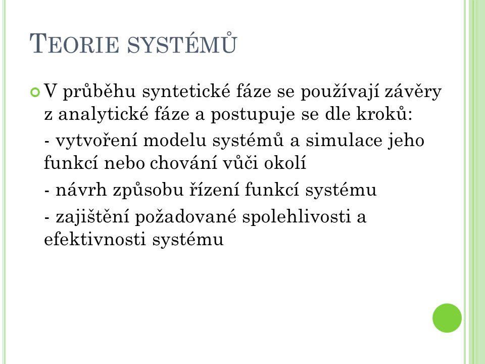 T EORIE SYSTÉMŮ V průběhu syntetické fáze se používají závěry z analytické fáze a postupuje se dle kroků: - vytvoření modelu systémů a simulace jeho funkcí nebo chování vůči okolí - návrh způsobu řízení funkcí systému - zajištění požadované spolehlivosti a efektivnosti systému
