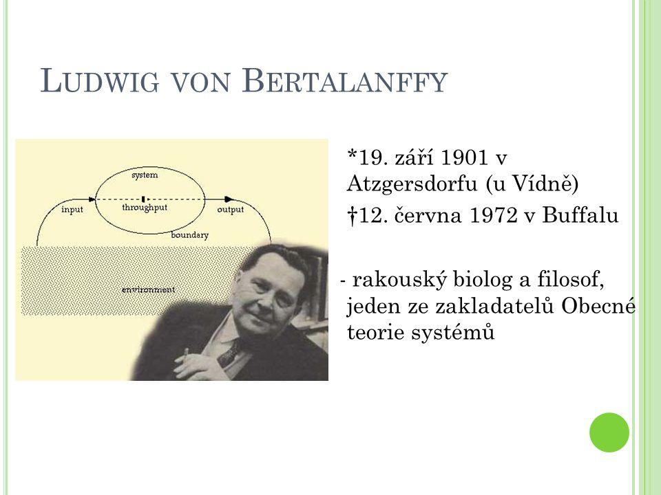 L UDWIG VON B ERTALANFFY *19. září 1901 v Atzgersdorfu (u Vídně) †12.
