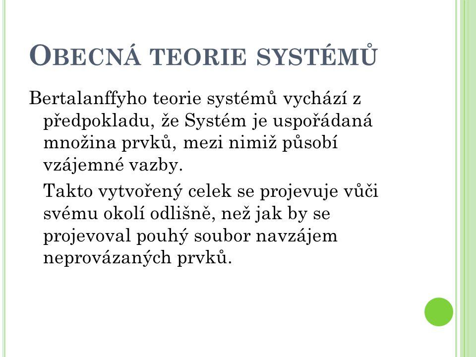 O BECNÁ TEORIE SYSTÉMŮ Bertalanffyho teorie systémů vychází z předpokladu, že Systém je uspořádaná množina prvků, mezi nimiž působí vzájemné vazby.