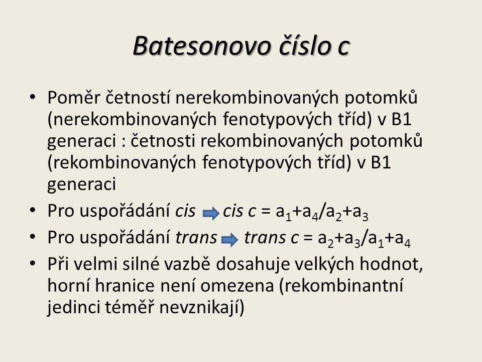 Batesonovo číslo c Poměr četností nerekombinovaných potomků (nerekombinovaných fenotypových tříd) v B1 generaci : četnosti rekombinovaných potomků (rekombinovaných fenotypových tříd) v B1 generaci Pro uspořádání cis cis c = a 1 +a 4 /a 2 +a 3 Pro uspořádání trans trans c = a 2 +a 3 /a 1 +a 4 Při velmi silné vazbě dosahuje velkých hodnot, horní hranice není omezena (rekombinantní jedinci téměř nevznikají)