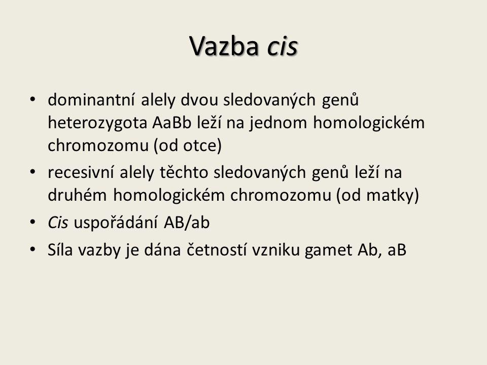 Vazba cis dominantní alely dvou sledovaných genů heterozygota AaBb leží na jednom homologickém chromozomu (od otce) recesivní alely těchto sledovaných genů leží na druhém homologickém chromozomu (od matky) Cis uspořádání AB/ab Síla vazby je dána četností vzniku gamet Ab, aB