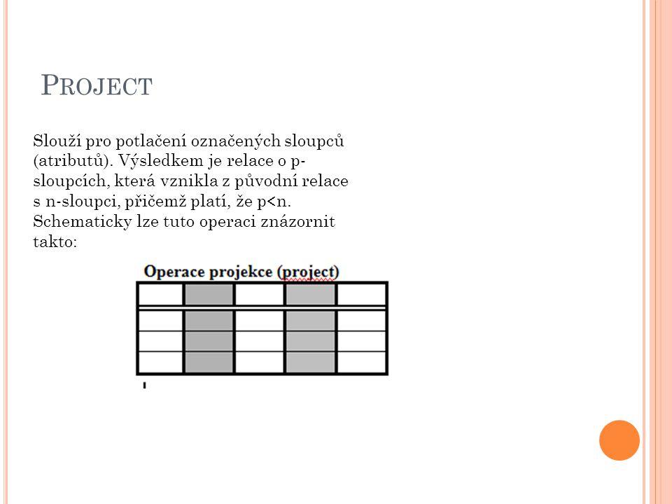 S ELECT Při této operaci vzniká nová relace, do které jsou vybírány pouze ty řádky (záznamy) z původní tabulky, které splňují uživatelem specifikovanou podmínku.