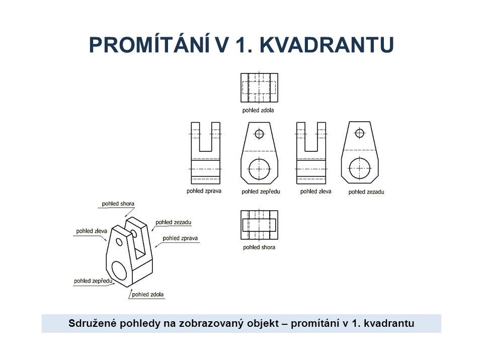 PROMÍTÁNÍ V 1. KVADRANTU Sdružené pohledy na zobrazovaný objekt – promítání v 1. kvadrantu