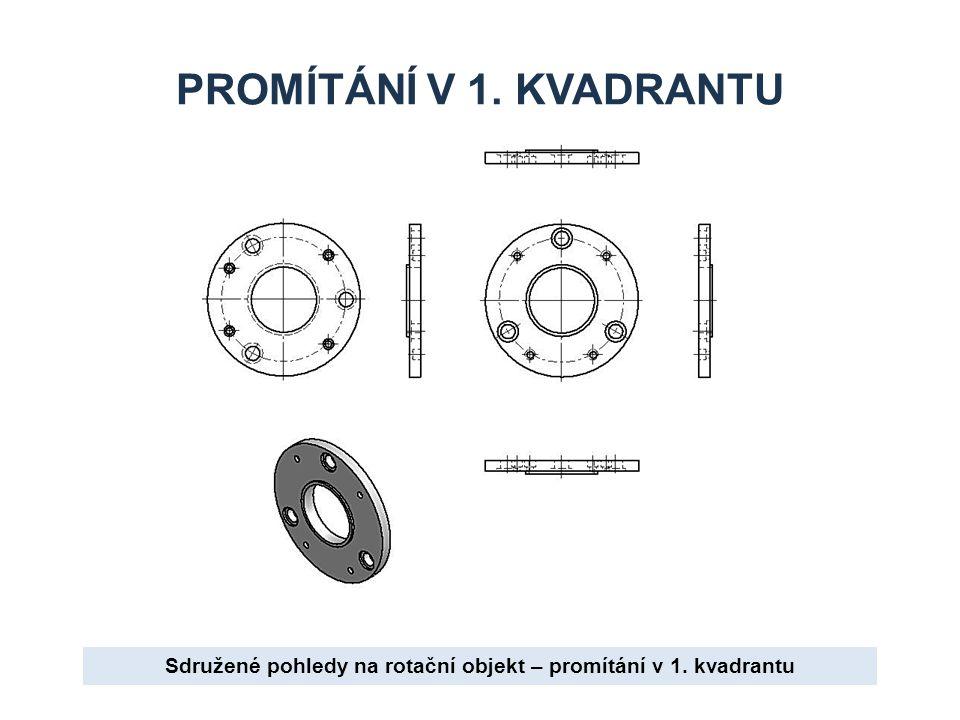 PROMÍTÁNÍ V 1. KVADRANTU Sdružené pohledy na rotační objekt – promítání v 1. kvadrantu
