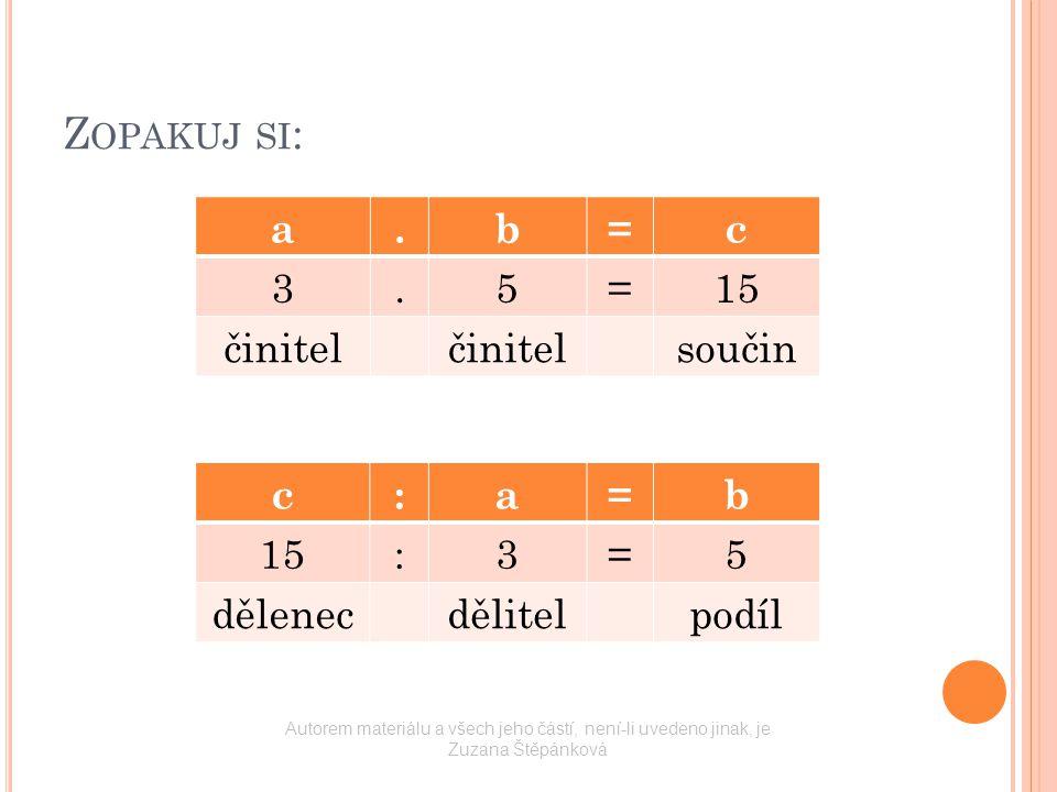 Z OPAKUJ SI : a.b=c 3.5=15 činitel součin c:a=b 15:3=5 dělenecdělitelpodíl Autorem materiálu a všech jeho částí, není-li uvedeno jinak, je Zuzana Štěp