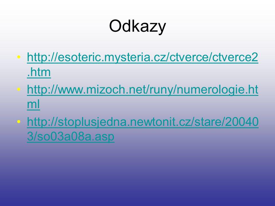 Odkazy http://esoteric.mysteria.cz/ctverce/ctverce2.htmhttp://esoteric.mysteria.cz/ctverce/ctverce2.htm http://www.mizoch.net/runy/numerologie.ht mlht