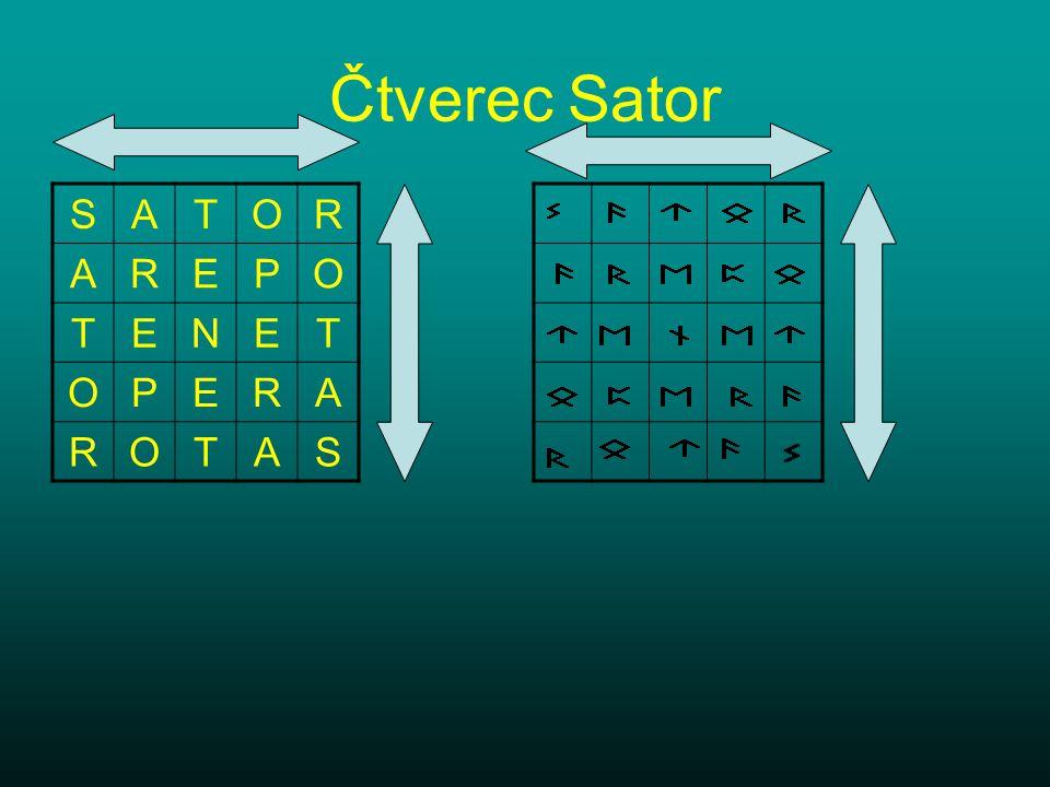 Čtverec Sator SATOR AREPO TENET OPERA ROTAS