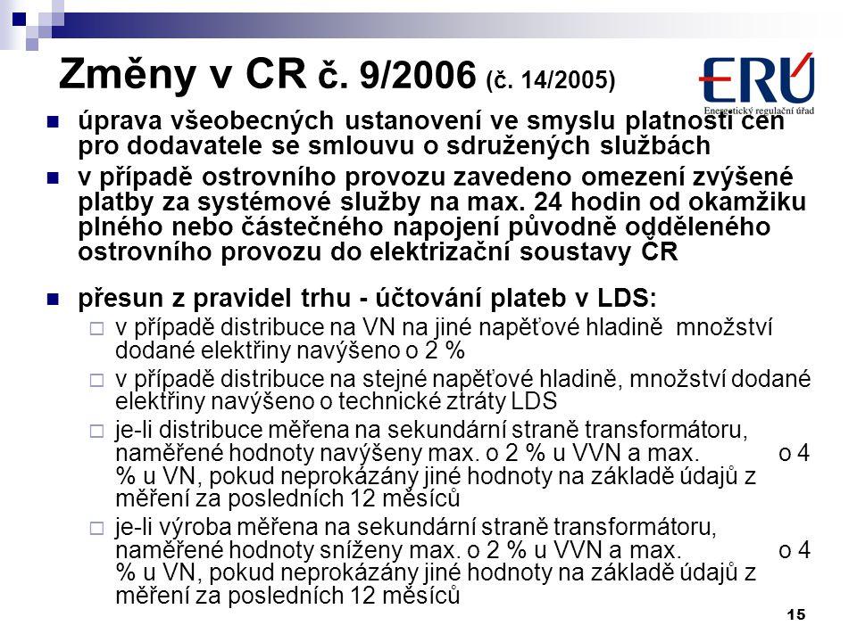 15 Změny v CR č. 9/2006 (č.