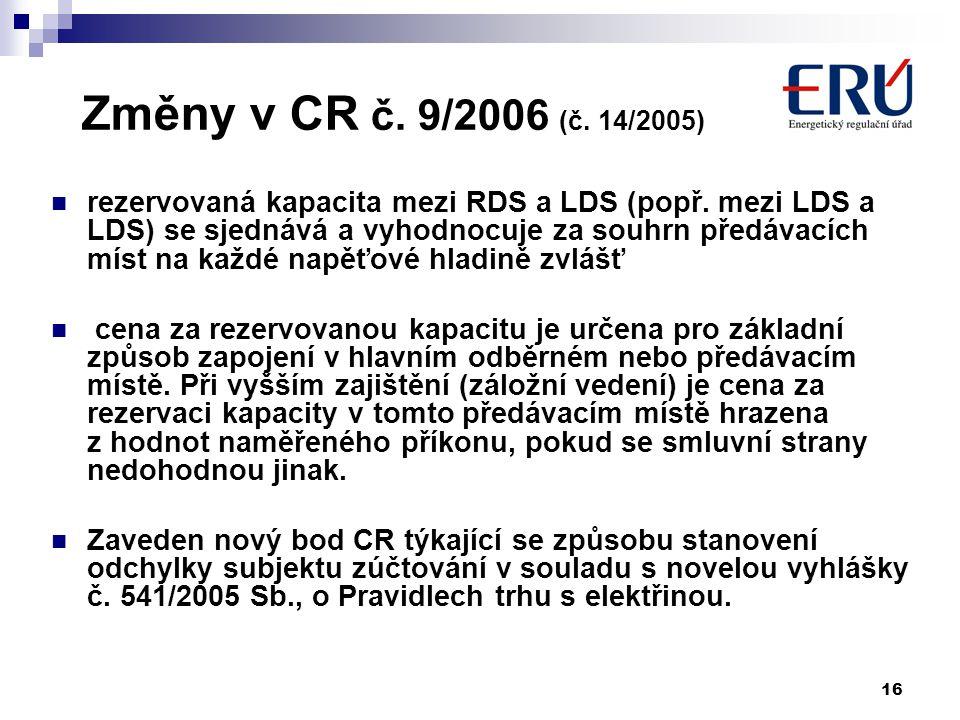 16 Změny v CR č. 9/2006 (č. 14/2005) rezervovaná kapacita mezi RDS a LDS (popř.