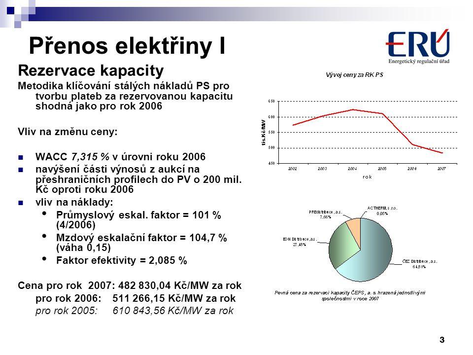 3 Přenos elektřiny I Rezervace kapacity Metodika klíčování stálých nákladů PS pro tvorbu plateb za rezervovanou kapacitu shodná jako pro rok 2006 Vliv na změnu ceny: WACC 7,315 % v úrovni roku 2006 navýšení části výnosů z aukcí na přeshraničních profilech do PV o 200 mil.