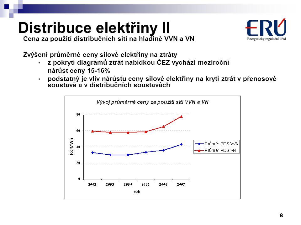 8 Distribuce elektřiny II Cena za použití distribučních sítí na hladině VVN a VN Zvýšení průměrné ceny silové elektřiny na ztráty z pokrytí diagramů ztrát nabídkou ČEZ vychází meziroční nárůst ceny 15-16% podstatný je vliv nárůstu ceny silové elektřiny na krytí ztrát v přenosové soustavě a v distribučních soustavách
