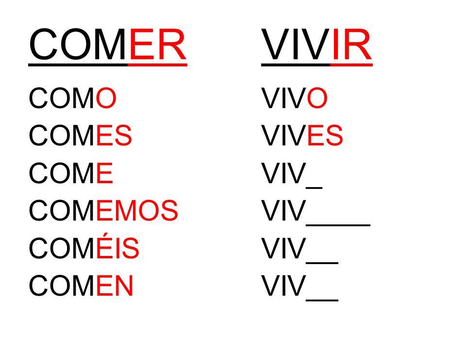 COMERVIVIR COMOVIVO COMESVIVES COMEVIV_ COMEMOSVIV____ COMÉISVIV__ COMENVIV__