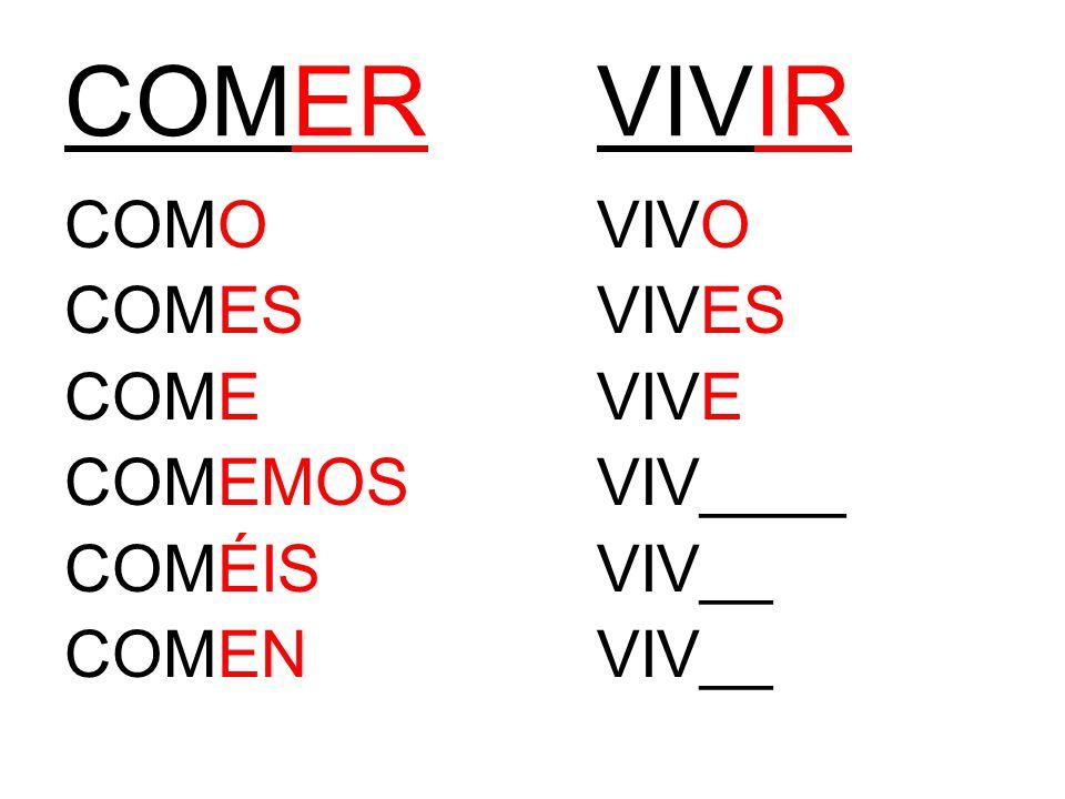 COMERVIVIR COMOVIVO COMESVIVES COMEVIVE COMEMOSVIV____ COMÉISVIV__ COMENVIV__