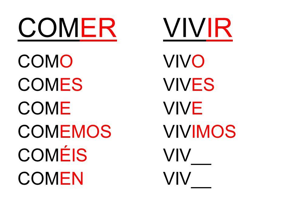 COMERVIVIR COMOVIVO COMESVIVES COMEVIVE COMEMOSVIVIMOS COMÉISVIV__ COMENVIV__