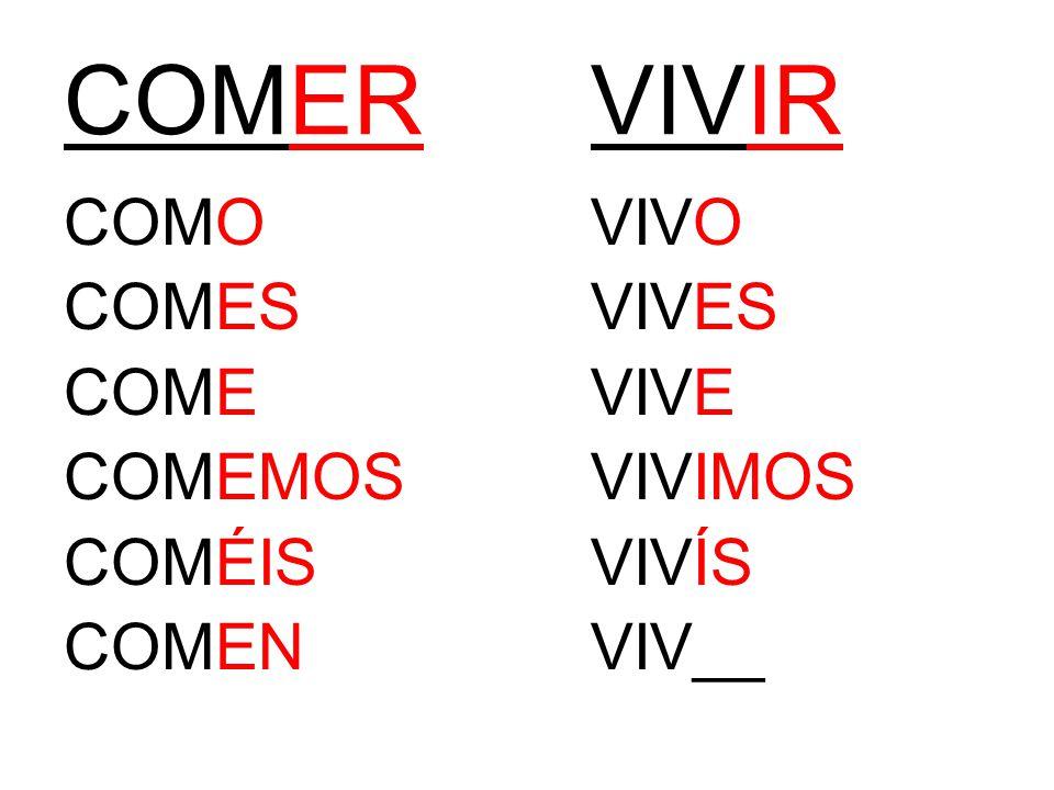 COMERVIVIR COMOVIVO COMESVIVES COMEVIVE COMEMOSVIVIMOS COMÉISVIVÍS COMENVIV__