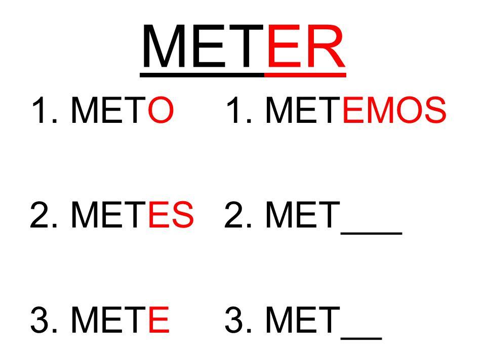 METER 1. METO1. METEMOS 2. METES2. MET___ 3. METE3. MET__