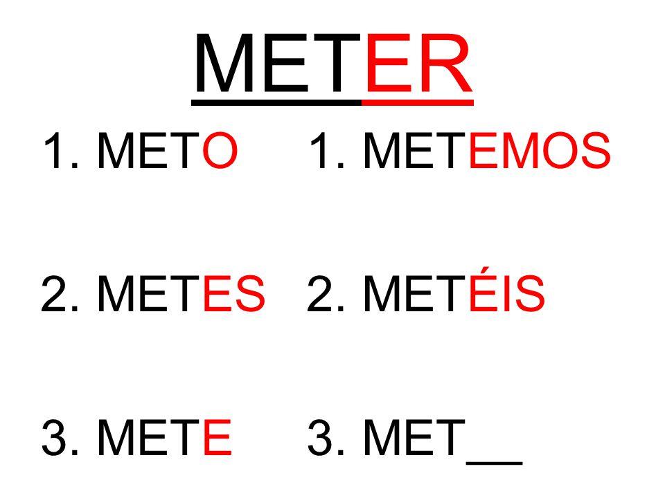 METER 1. METO1. METEMOS 2. METES2. METÉIS 3. METE3. MET__