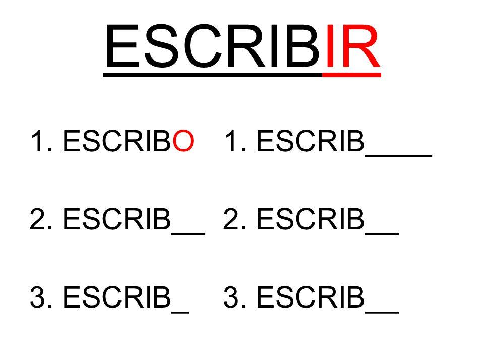 ESCRIBIR 1. ESCRIBO1. ESCRIB____2. ESCRIB__ 3. ESCRIB_3. ESCRIB__