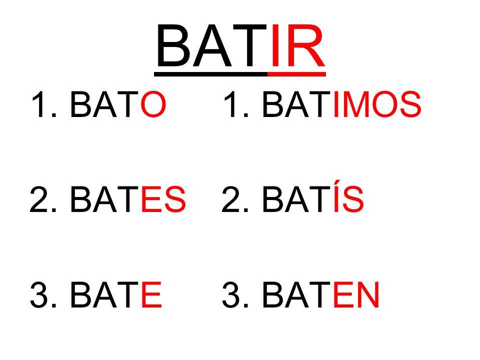 BATIR 1. BATO1. BATIMOS 2. BATES2. BATÍS 3. BATE3. BATEN