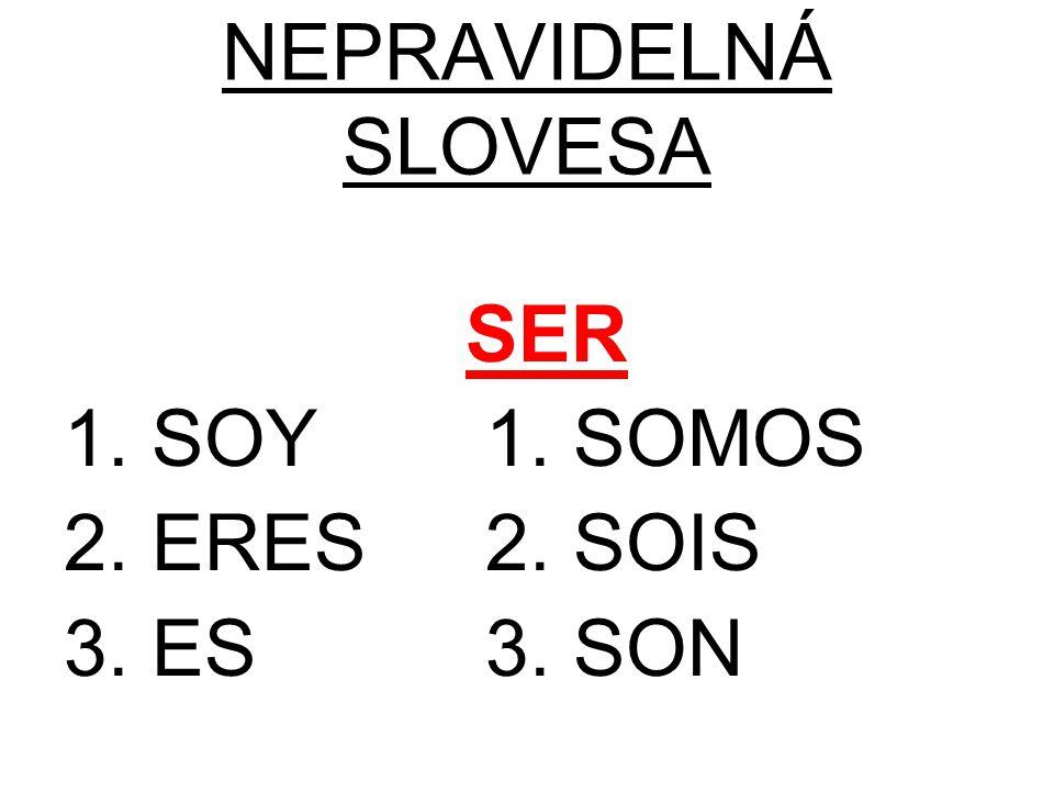 NEPRAVIDELNÁ SLOVESA SER 1. SOY1. SOMOS 2. ERES2. SOIS 3. ES3. SON