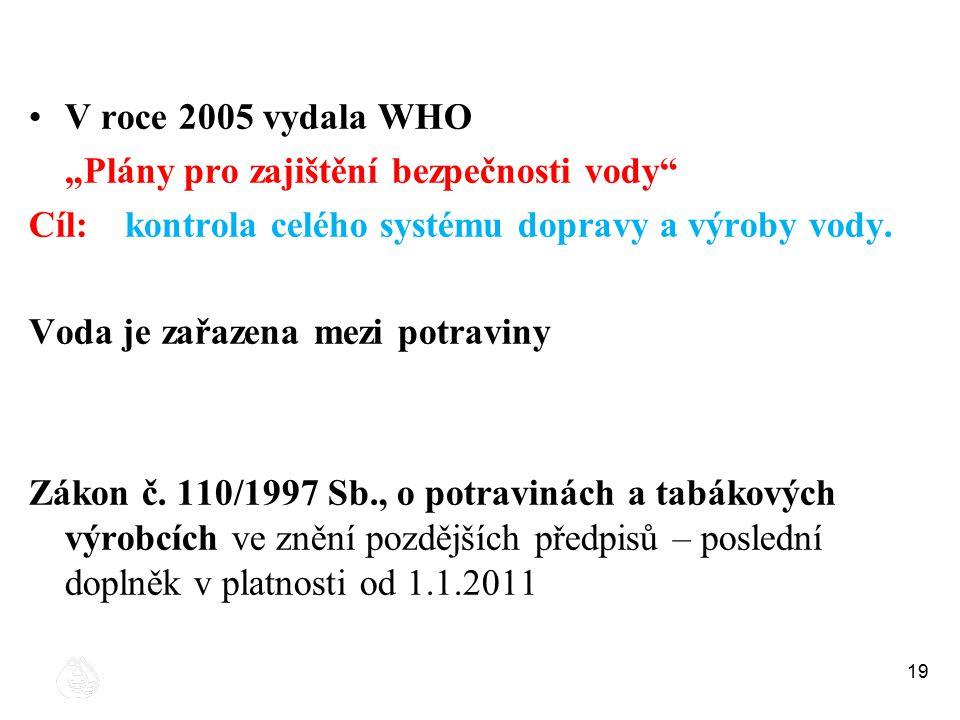 """19 V roce 2005 vydala WHO """"Plány pro zajištění bezpečnosti vody"""" Cíl:kontrola celého systému dopravy a výroby vody. Voda je zařazena mezi potraviny Zá"""