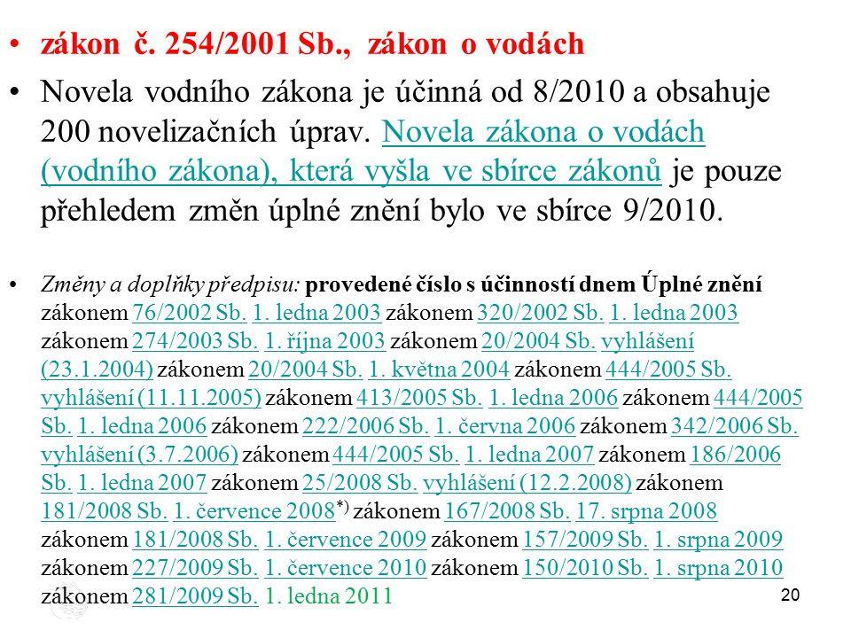 20 zákon č. 254/2001 Sb., zákon o vodách Novela vodního zákona je účinná od 8/2010 a obsahuje 200 novelizačních úprav. Novela zákona o vodách (vodního