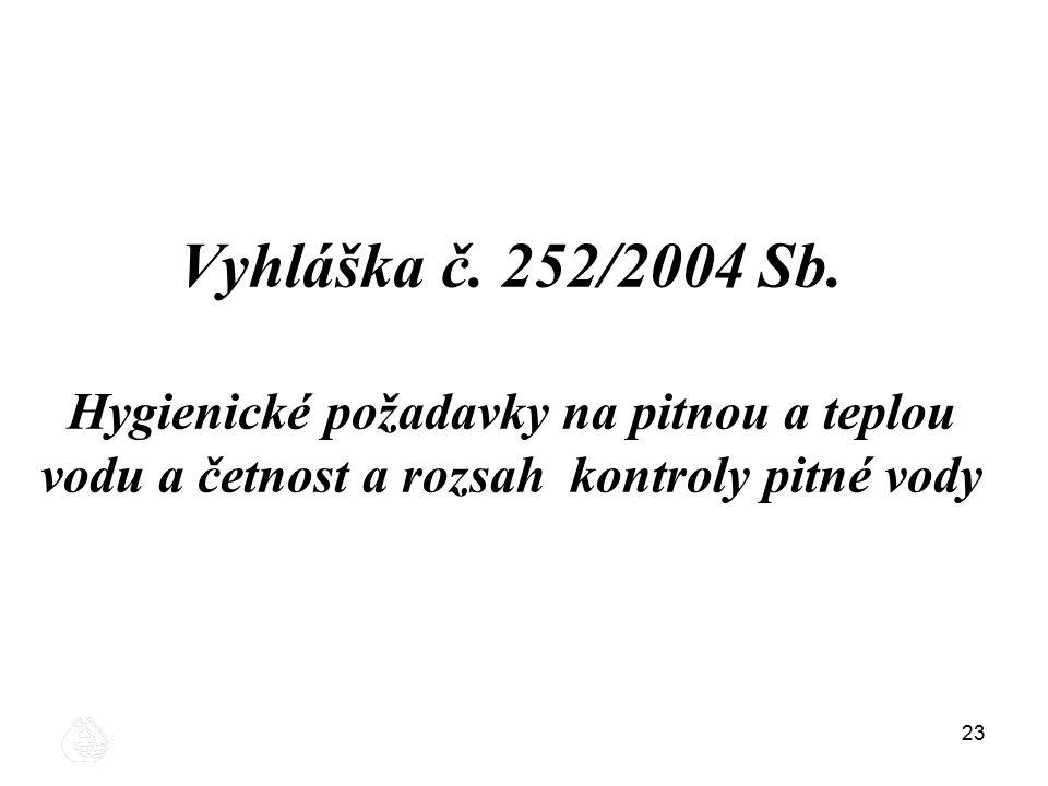 23 Vyhláška č. 252/2004 Sb. Hygienické požadavky na pitnou a teplou vodu a četnost a rozsah kontroly pitné vody