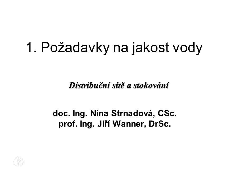 1. Požadavky na jakost vody doc. Ing. Nina Strnadová, CSc. prof. Ing. Jiří Wanner, DrSc. Distribuční sítě a stokování