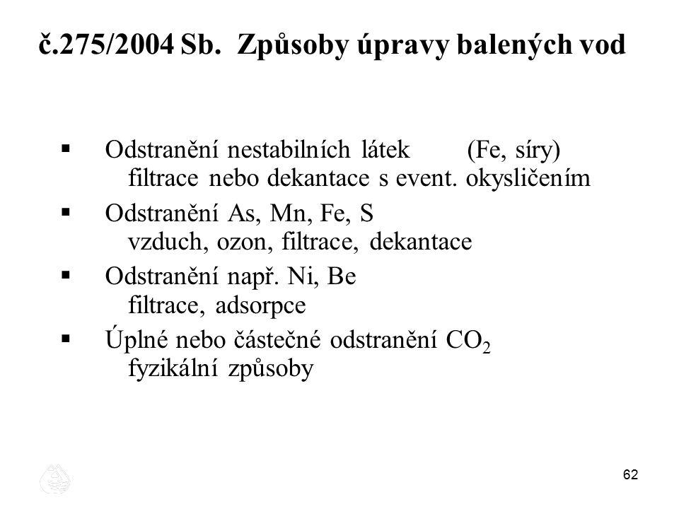 62 č.275/2004 Sb. Způsoby úpravy balených vod  Odstranění nestabilních látek (Fe, síry) filtrace nebo dekantace s event. okysličením  Odstranění As,