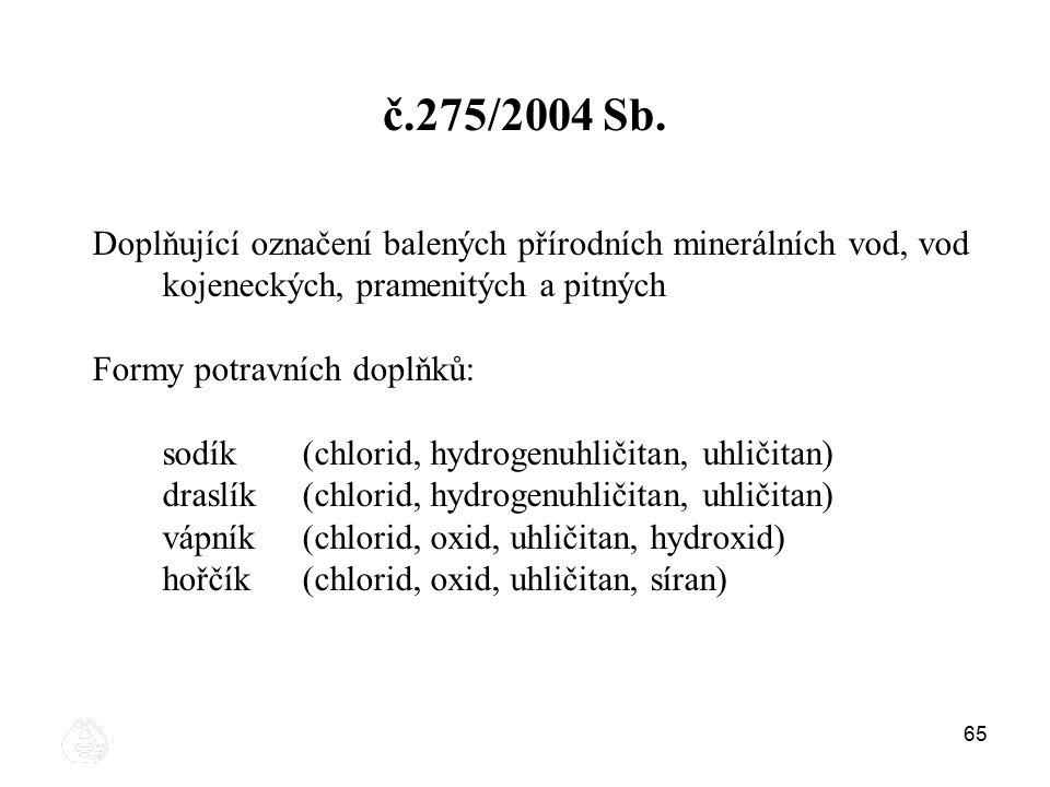 65 č.275/2004 Sb. Doplňující označení balených přírodních minerálních vod, vod kojeneckých, pramenitých a pitných Formy potravních doplňků: sodík(chlo