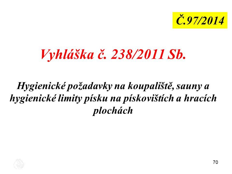 70 Vyhláška č. 238/2011 Sb. Hygienické požadavky na koupaliště, sauny a hygienické limity písku na pískovištích a hracích plochách Č.97/2014