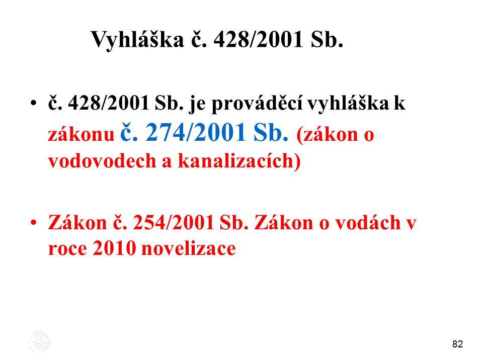 82 č. 428/2001 Sb. je prováděcí vyhláška k zákonu č. 274/2001 Sb. (zákon o vodovodech a kanalizacích) Zákon č. 254/2001 Sb. Zákon o vodách v roce 2010