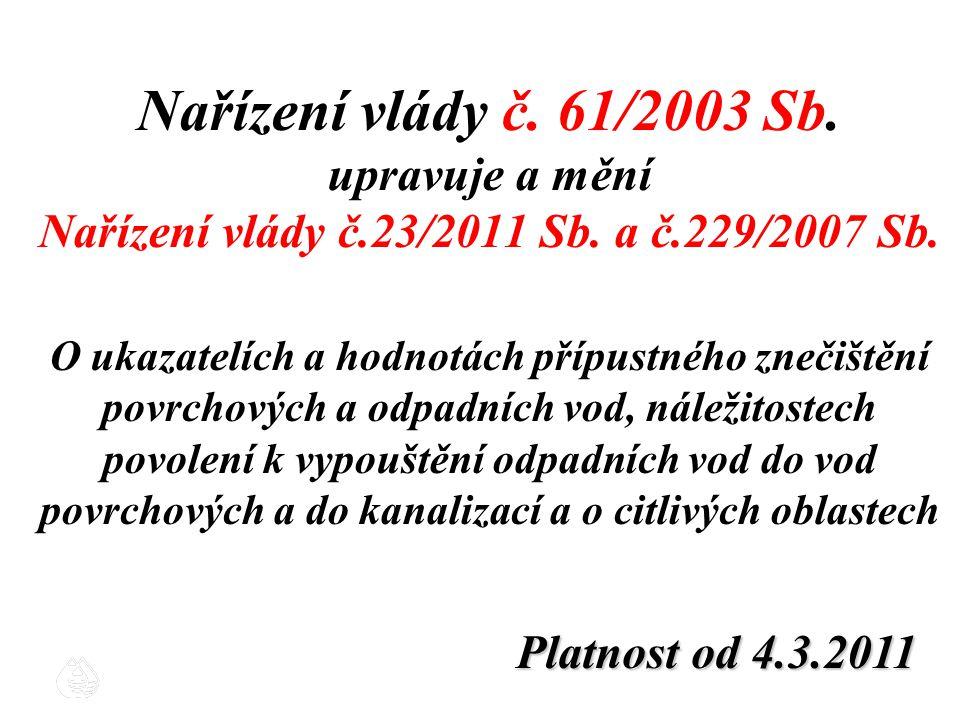 Nařízení vlády č. 61/2003 Sb. upravuje a mění Nařízení vlády č.23/2011 Sb. a č.229/2007 Sb. O ukazatelích a hodnotách přípustného znečištění povrchový