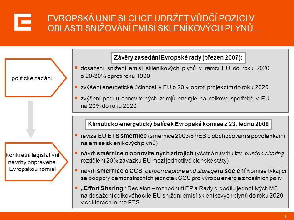 1 EVROPSKÁ UNIE SI CHCE UDRŽET VŮDČÍ POZICI V OBLASTI SNIŽOVÁNÍ EMISÍ SKLENÍKOVÝCH PLYNŮ…  revize EU ETS směrnice (směrnice 2003/87/ES o obchodování s povolenkami na emise skleníkových plynů)  návrh směrnice o obnovitelných zdrojích (včetně návrhu tzv.