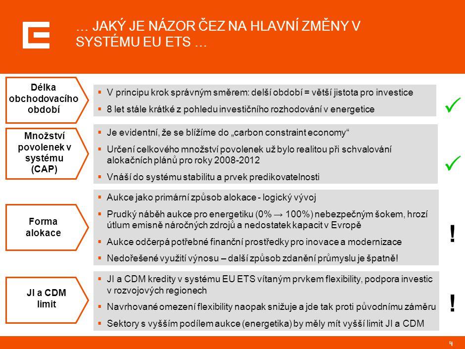 4 … JAKÝ JE NÁZOR ČEZ NA HLAVNÍ ZMĚNY V SYSTÉMU EU ETS … ! !    V principu krok správným směrem: delší období = větší jistota pro investice  8 let