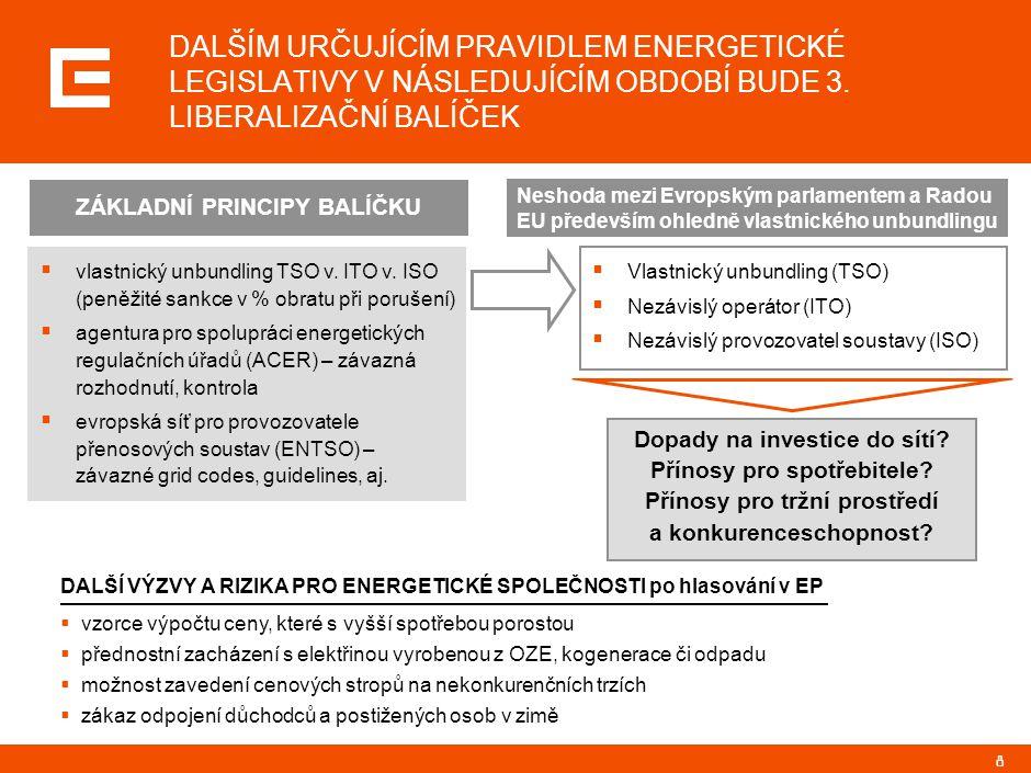 8 DALŠÍM URČUJÍCÍM PRAVIDLEM ENERGETICKÉ LEGISLATIVY V NÁSLEDUJÍCÍM OBDOBÍ BUDE 3. LIBERALIZAČNÍ BALÍČEK  vlastnický unbundling TSO v. ITO v. ISO (pe