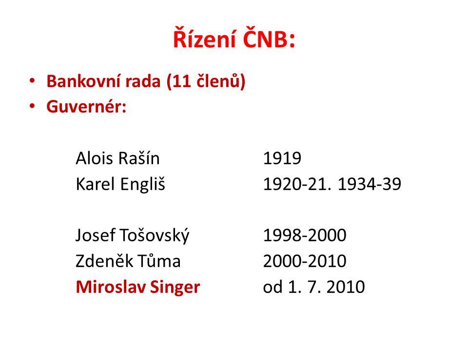 Řízení ČNB : Bankovní rada (11 členů) Guvernér: Alois Rašín 1919 Karel Engliš1920-21.